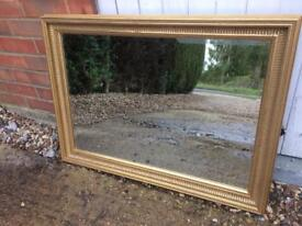 Large Gold framed bevelled edge mirror overmantel Mirror