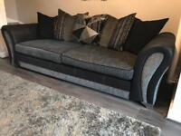 Black/Grey 4 Seater Sofa