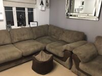 Left hand Corner sofa, matching armchair and footstall