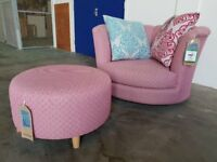 FABB SOFAS BRAND NEW / EX DISPLAY JELLY PATTERN SWIVEL CHAIR WITH CUSHIONS AND FOOTSTOOL CAN DELIVER