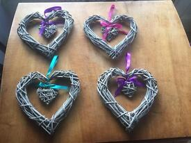 Wicker hearts for wedding decoration