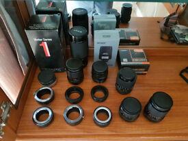 Various Vintage Camera lenses and adaptors