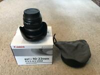 Canon EFS 10-22mm f3.5-4.5 USM landscape lens with bag and box