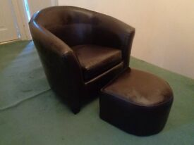 Kids Brown Faux Leather Tub Chair and Stool Dunelm Mill