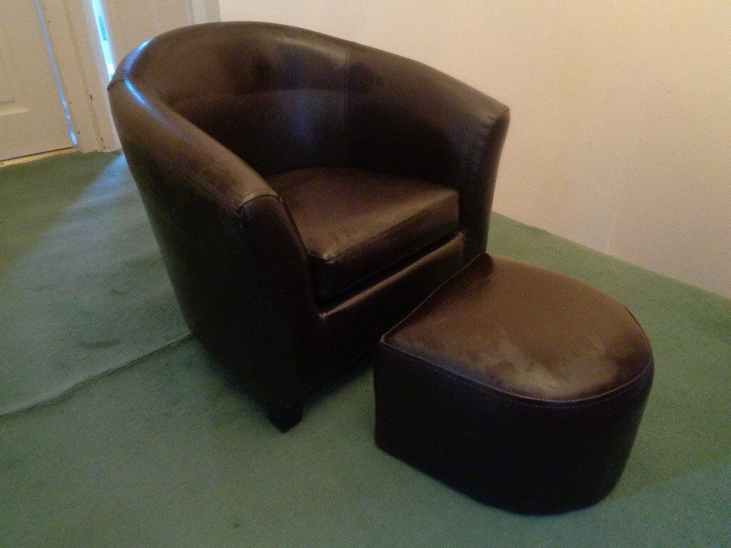 Kids Brown Faux Leather Tub Chair and Stool Dunelm Mill | in ...