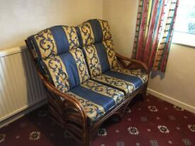 Sofa - Two Seater Bamboo Settee - very comfy - Ideal for conservatories