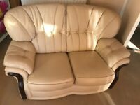 Cream leather sofa and chairs