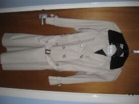 ladies quality trench coat beige belted double breasted raincoat size 12 with a tartan wool lining