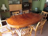 Dinning table with inlaid top and 6 matching chairs