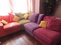 Multi coloured Corner Unit Sofa / Settee
