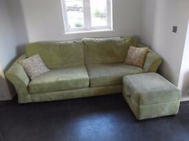 Green Jumbo Cord 3 Seater Settee with Matching Footstool