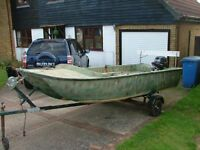 4.1mt Cathedral hull dory ,15hp yamaha outboard and trailer