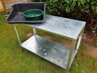 Greenhouse galvanized steel potting table and potting tray and sieve
