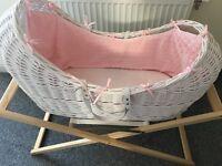 Pink & White Pod - Moses Basket