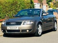 AUDI A4 3.0 V6 AUTO CONVERTIBLE 2003 LOW MILEAGE 1YRS MOT CLEAN&TIDY 3 MONTHS WARRANTY
