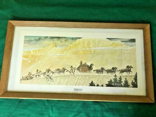 Winchester's 1966 Norman Rockwell Stagecoach Commemorative Poster Framed