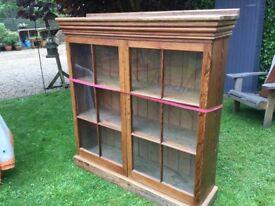 Pitch pine antique glazed cupboard with key