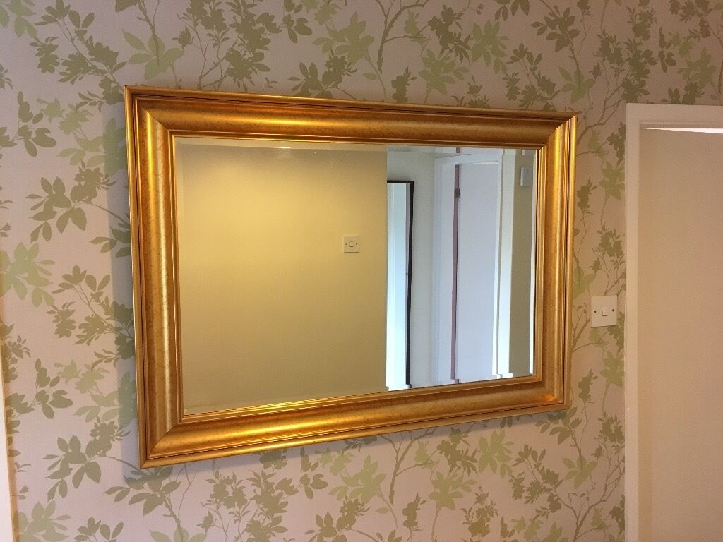 Large gold framed wall mirror in northern moor for Large framed mirrors for walls