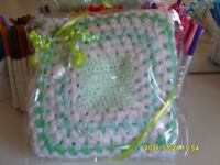 "**BRAND NEW & GIFT WRAPPED** hand crocheted green & white blanket - 28"" square"
