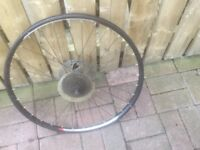 A REAR, MOUNTAIN BIKE, DISC WHEEL FOR SALE, COMPLETE WITH CASSETTE.