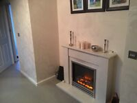 Complete Marble designer fireplace and flat electric fire