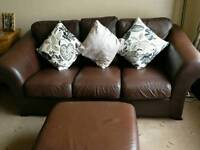 Soft Brown leather suite ,3seater setee,chair and pouffe