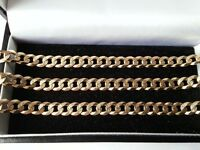 Beautiful, 9ct Solid Yellow Gold Patterned Curb Chain, 375 Fully Hallmarked