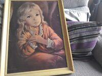 Antique picture framed (Little Girl)