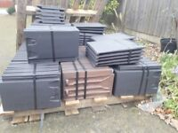 163 Sandtoft 20/20 clay low pitch roof tiles. Antique slate. Unused.