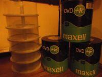 300 x Maxell DVD+R Discs & 12 New Empty DVD Storage Tubs