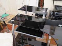 Expandable computer desk - elegant black glass and silver