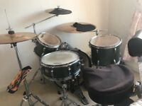 Tama swingstar 6 piece drum kit with cases Meinl cycmbals with cases and practice pads