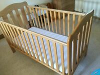 Mamas and Papas Cot Bed - fantastic condition. Suitable from birth. Teething rails included.