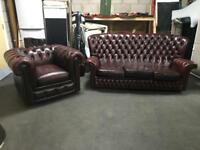 Ox Blood Chesterfield 2pc sofa set Can deliver