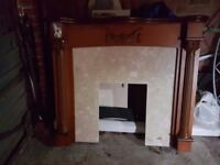 wooden fireplace with marble back and hearth idea for a house ect without a chimney breasy
