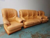 ITALIAN LEATHER SET 3 SEATER SOFA / SUITE / SETTEE & 2 CHAIRS / ARMCHAIRS DELIVERY AVAILABLE