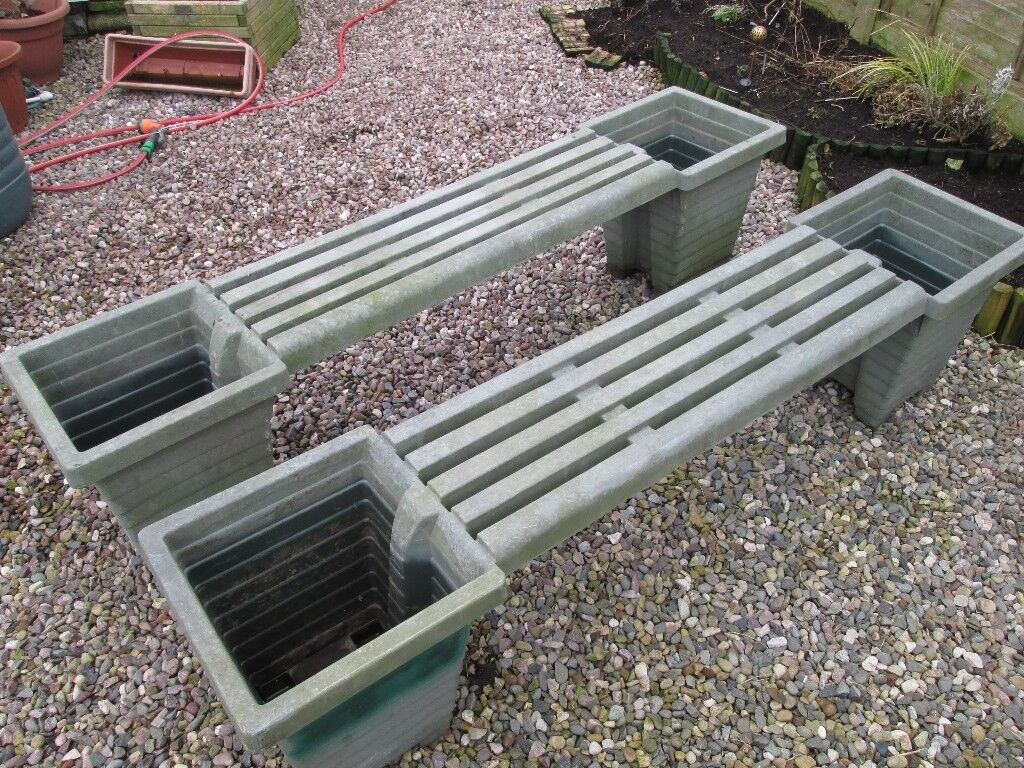 Used Molded Plastic Garden Benches With Planters For Sale