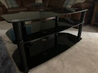 Black glass TV stand, 3 tier - excellent condition