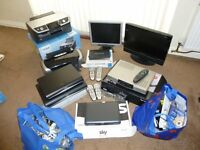 FORSALE JOBLOT OF ELECTRICAL'S COMBI TV SKY+ BOXES PRINTERS MONITOR & 2 BAGS OF WIRES