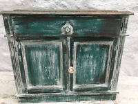OLD SHABBY CHIC PAINTED PINE CUPBOARD WITH DRAWER
