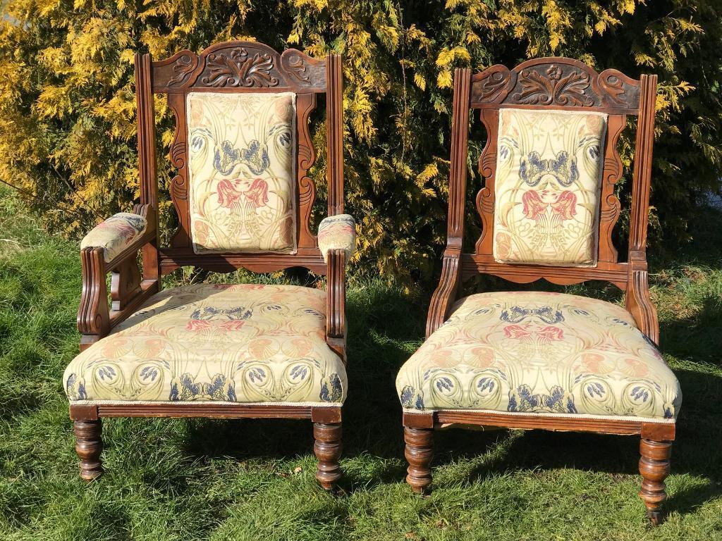 Beautiful matching pair antique fireside chairs - Beautiful Matching Pair Antique Fireside Chairs In Northampton