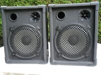 "PAIR OF SPEAKERS, 200 watts rms each, 10"" drivers + horns, in very good condition."