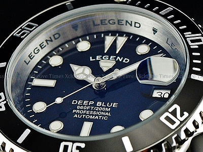 NEW Legend Men Submariner Deep Blue Auto Sapphitek MidNight Black Dial SS Watch  (Auto Black Dial Watch)