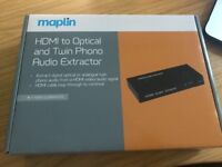 Maplin HDMI to Optical and Twin Phono Audio Extractor - brand new