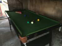 6ft x 3 ft Snooker Table, half set of snooker balls, cues, triangle & score board