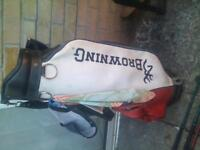 selection of golf clubs and bag , balls etc open to offers