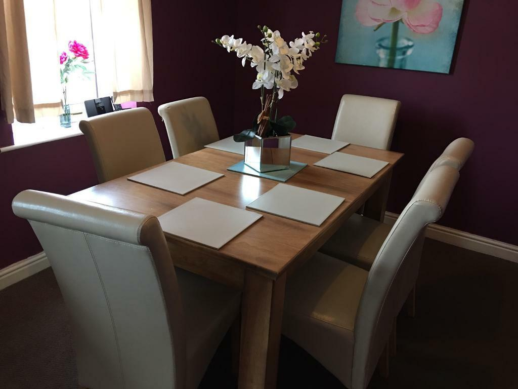 Oak Dining Table 6 Leather Chairs For Sale 199