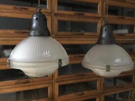 Antique Vintage Industrial Holophane Glass Prismatic Ceiling Lights Light Lamp