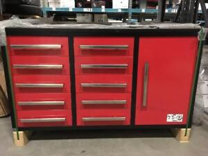 WORK BENCH  5.5 FT-10D  RED 174 KG  -COFFRE D ETABLIE DE GARAGE 5.5 PIEDS 174 KG  1500$