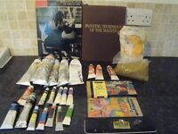 Large quantity of used oil paints with two art related books and some other paints